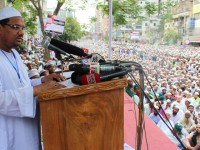 Mufty Sayed Mohammad Rezaul Karim is addressing as a president in National Grand rally