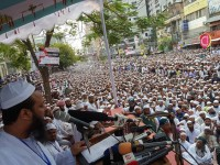 Mufty Sayed Mohammad Fayzul Karim is addressing in National Grand rally